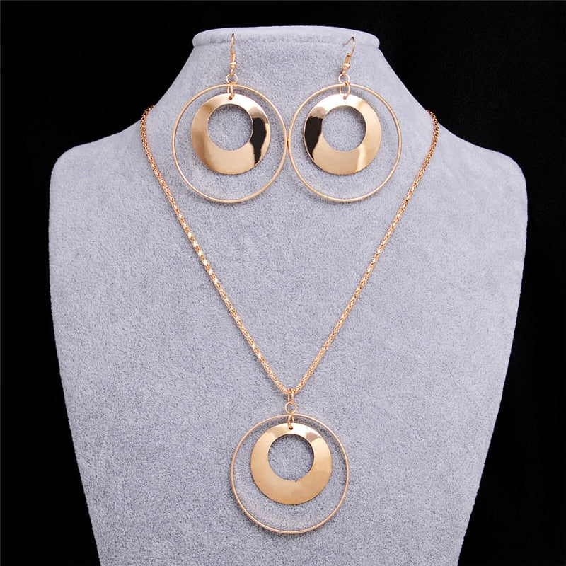 Vintage African Jewelry Sets for Women Gold Color Metal Round Pendant Necklace Statement Earrings Wedding Party Jewellery Gift - Aptil Jewelery