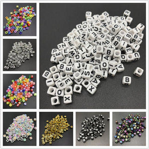 100pcs 6mm Mix Letter Beads Square Alphabet Beads Acrylic Beads DIY Jewelry Making For Bracelet Necklace Accessories - Aptil-jewelery - jewelry website