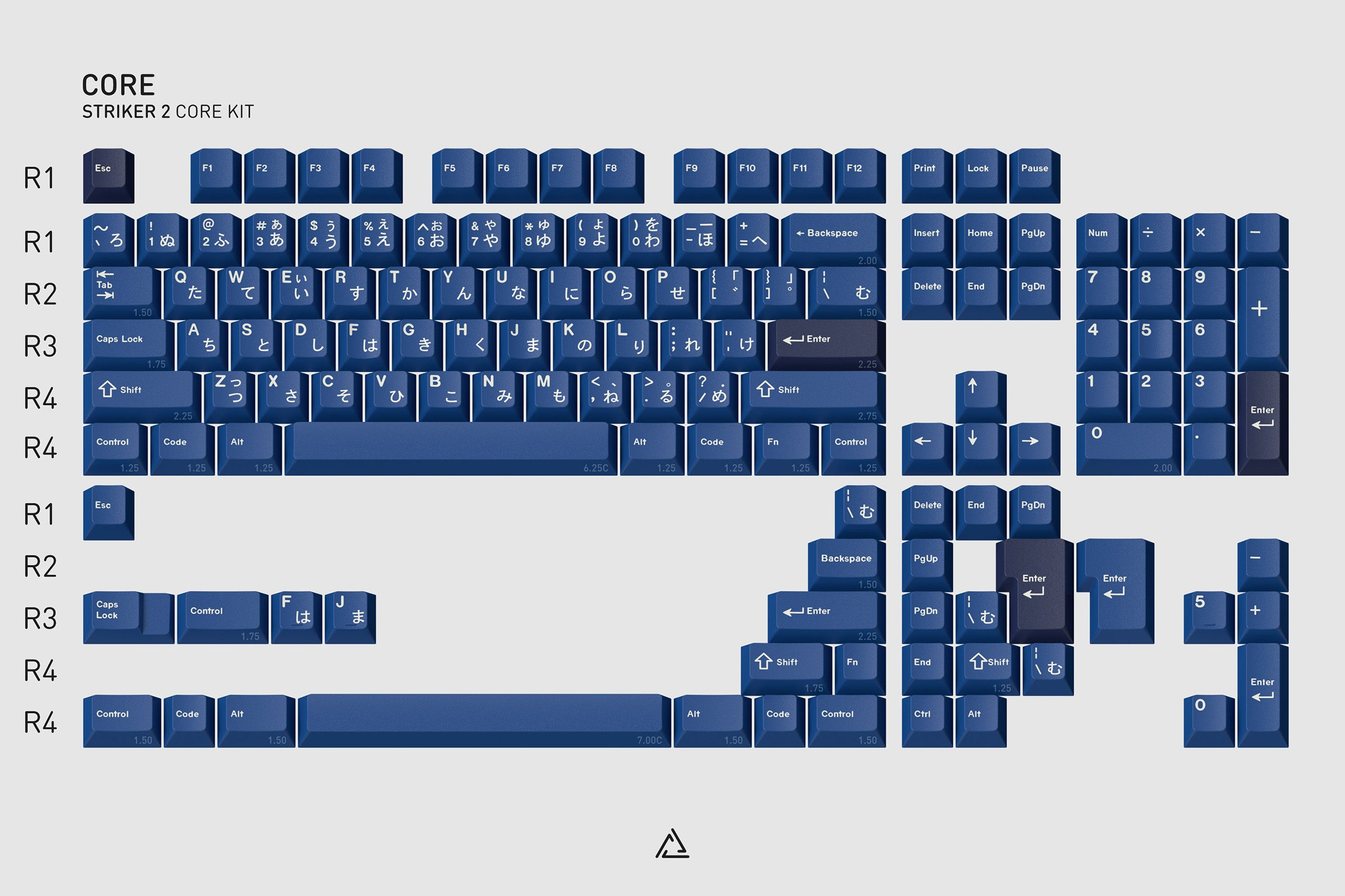 GMK Striker 2 Core Kit: The Core kit is your starting point and provides basic layout coverage for 60%, 65%, 75%, TKL, 96-key, 1800, and full-size layouts in both standard and winkeyless variants for both ANSI and ISO layouts, all of that while keeping in mind affordability.