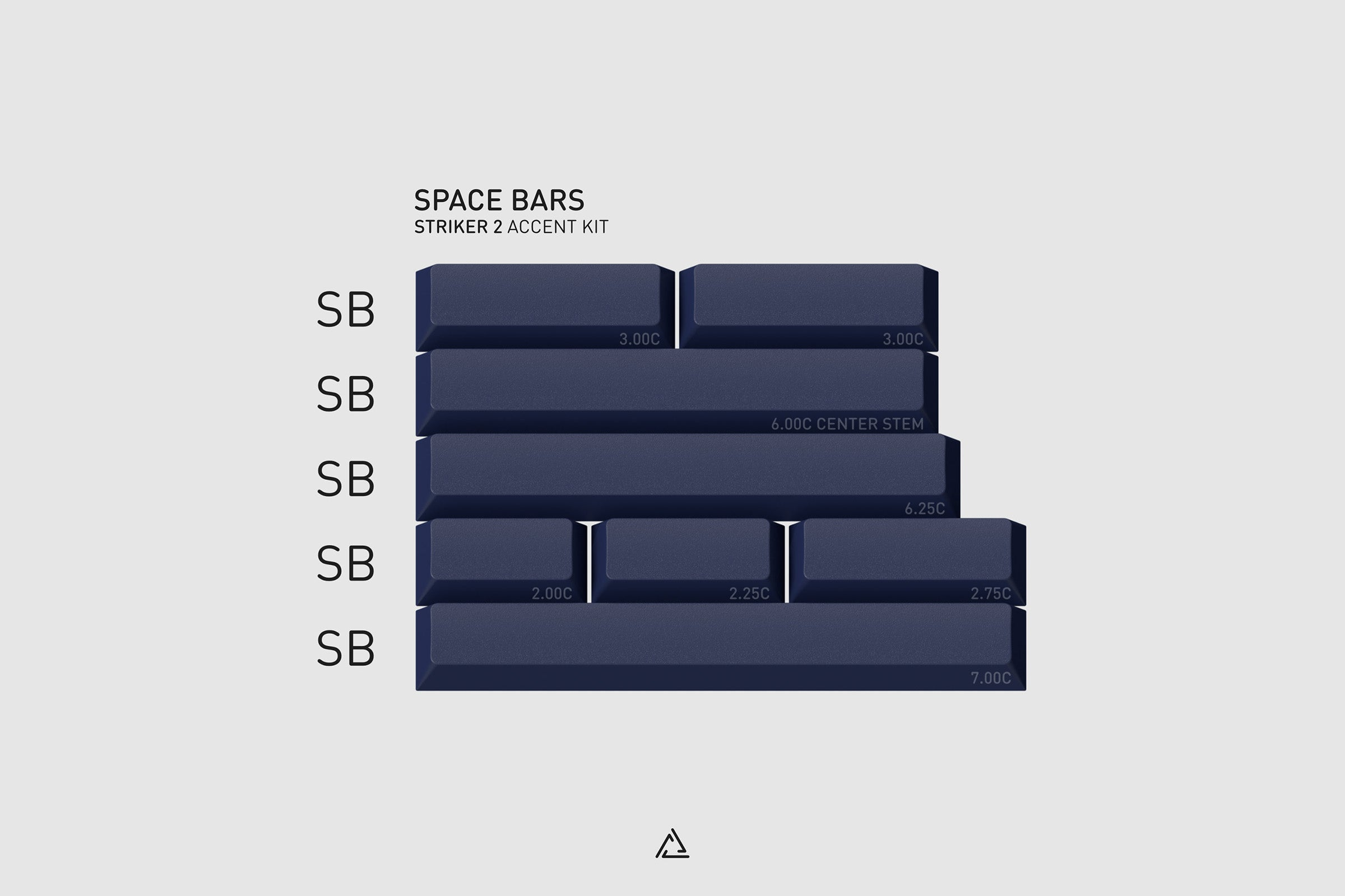 GMK Striker 2 Space Bars: The Space Bars kit includes accent space keys from 2.00C to 7.00C for both standard, and split keyboards.