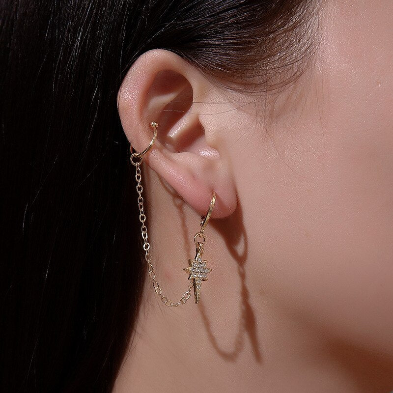 Korean Ear Cuff - Brinco Acorrentado Delicado