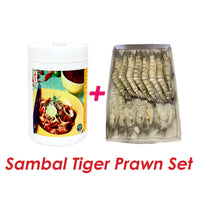 Sambal Black Tiger Prawn Set - Onion Sambal 1kg & Black Tiger Prawn 1kg/box (Halal) - SGFoodMart.com SG Food Mart
