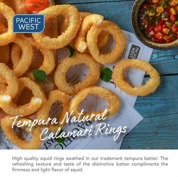 Pacific West Tempura Natural Calamari Rings 1kg/pkt (Halal)