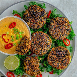 Mellow Miso Coconut Burgers with a spicy tahini sauce