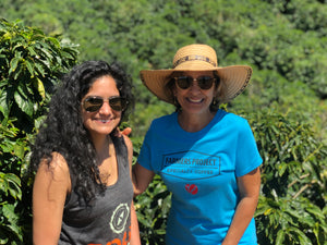 Alisha Esmail and Ceci of Road Coffee, 1st women care certified coffee farm. Uplifting coffee farmers from poverty, beyond Fair trade pricing, ethical coffee, free delivery, bringing disruption to lift coffee farmers from poverty, join us subscriptioni