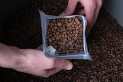 coffee beans stored in a bag, sealed for freshness