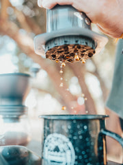 aeropress, outdoor coffee for adventures, coffee freshly brewed and on the go