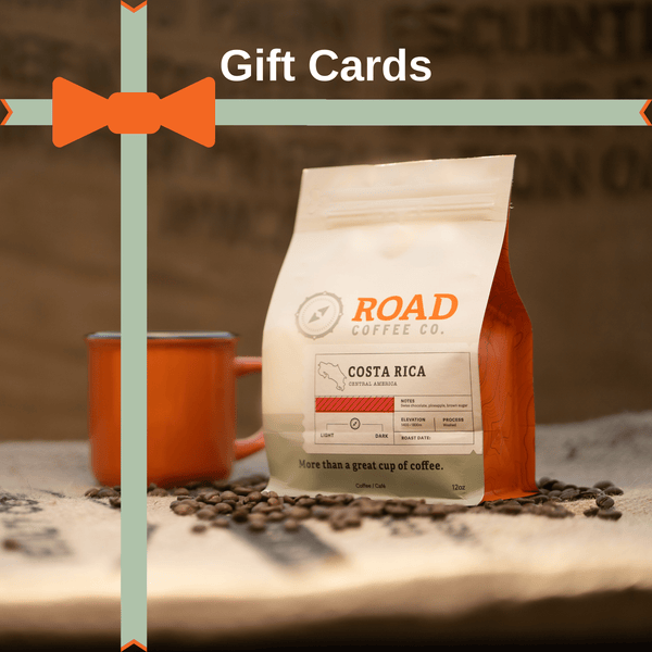 Give the gift of coffee with the Road Coffee gift card. This can be used on any coffee roasts and products, for office coffee or for at home. Order from the best Canadian coffee roaster.