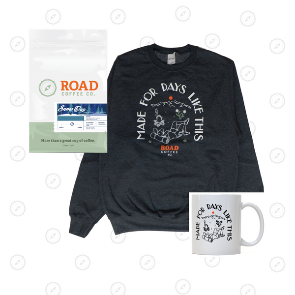 The Golden Trio includes Road Coffee's Snow Day Blend, Made for Days crewneck and Made for Days mug. This medium roast coffee is handcrafted from Costa Rican coffee, Peruvian coffee and Brazilian coffee. Available in both whole bean coffee and pre-ground coffee from the best Canadian coffee roasters and coffee subscription.