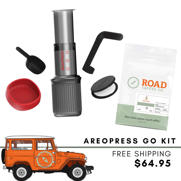 Road Trip Aeropress Kit comes with the complete AeroPress Go set, and Road Coffee's signature Ignition Blend. Handcrafted from Brazilian coffee and Colombian coffee, this medium roast coffee has tasting notes of chocolate, vanilla, hazelnut and caramel. Available in whole bean coffee and pre-ground coffee from the best Canadian coffee subsription.