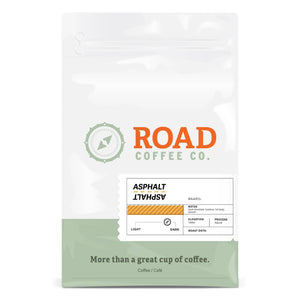 Asphalt is a dark roast, Brazilian coffee with tasting notes of dark chocolate, hazelnut, and marshmallow. Available in both whole coffee beans and pre-ground coffee from Canada's best coffee subscription.