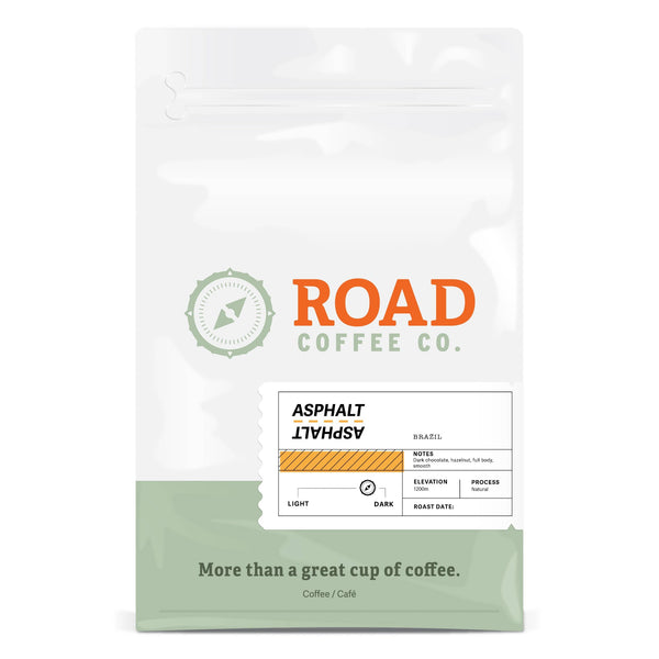 Asphalt is a dark roast, Brazilian coffee with tasting notes of dark chocolate, hazelnut, and marshmallow. The best dark roast coffee beans are available in both whole bean coffee and pre-ground coffee from the best Canadian coffee subscription.