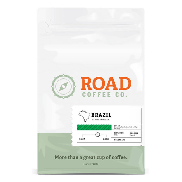 Brazil is a medium roast/dark roast coffee, with tasting notes of hazelnut, milk chocolate and vanilla. This full-bodied, earthy coffee is dependable and delicious, ensuring you always get a great cup of coffee. Available as whole bean coffee or pre-ground coffee beans from Canada's best coffee subscription.