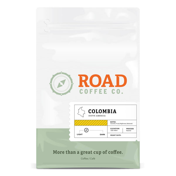Road Coffee's Colombia is a medium roast, medium body coffee, with tasting notes of caramel and a bright, fruity balance. This medium roast coffee is available in both whole coffee bean and pre-ground.