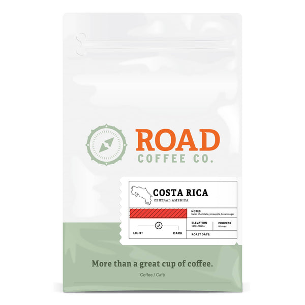 Road Coffee's Costa Rica is a medium roast coffee, with tasting notes of swiss chocolate, pineapple and brown sugar. These rich and complex coffee beans are available as whole bean coffee or pre-ground.