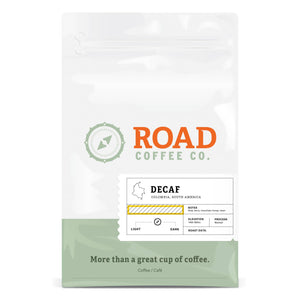 Road Coffee's Colombia Decaf is a medium roast coffee, with tasting notes of caramel and a bright, fruity balance. Available in 2 pound bags as both whole coffee bean and pre-ground from Canada's best online coffee subscription.