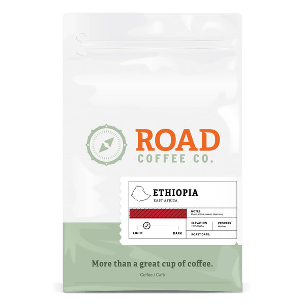 Road Coffee's Ethiopian coffee is a delicious light roast coffee, with tasting notes of floral, vanilla and citrus. Order these Ethiopian coffee beans as both whole bean coffee and pre-ground coffee beans from Canada's best coffee subscription.