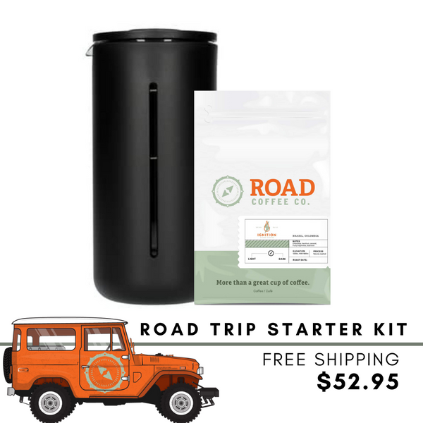 Road Trip French Press Kit comes with the TIMEMORE Small U French Press, and Road Coffee's signature Ignition Blend coffee beans. Handcrafted from Brazilian coffee and Colombian coffee, this medium roast coffee has tasting notes of chocolate, vanilla, hazelnut and caramel. Available in whole bean coffee and pre-ground coffee from the best Canadian coffee subscription.