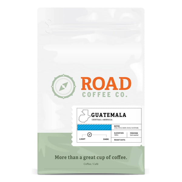 Road Coffee's Guatemalan coffee is a light roast, round-bodied coffee, with tasting notes of juicy citrus, sweet, and cocoa. This light and enjoyable Guatemala coffee beans are available in both whole bean coffee and pre-ground coffee beans from the best Canadian coffee roasters.
