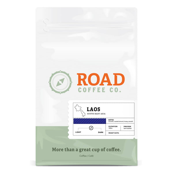 Laos from Road Coffee is a medium roast coffee, with tasting notes of caramel, roasted almond and honey. This exotic coffee is available to order online from the best Canadian coffee roaster. Choose from a 2 pound bag of coffee or 12 oz bags of coffee either whole bean coffee or pre-ground coffee beans. Online coffee delivery the best coffee beans to your doorstep.