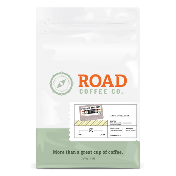 Mixtape Espresso from Road Coffee is a medium roast coffee blend of Costa Rican coffee and Laos coffee, with tasting notes of chocolate coffee beans, vanilla, honey and caramel. This coffee makes the best espresso beans in Canada, as well as the best coffee beans. Available for office coffee as whole bean coffee or pre-ground coffee from Canada's best coffee subscription.