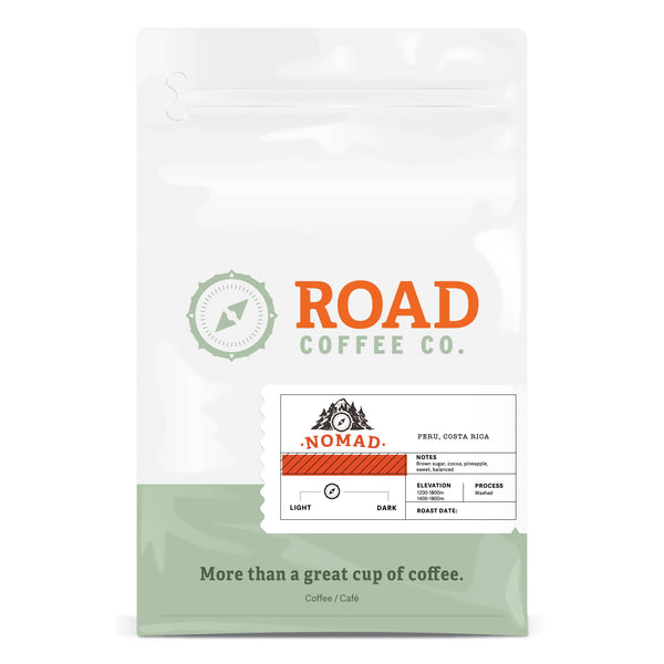 Nomad from Road Coffee is a light to medium roast coffee, created by blending Costa Rican coffee beans and Guatemalan coffee beans. This balanced coffee has tasting notes of brown sugar, cocoa and pineapple. Available in 2 pound bags of coffee or 12 oz bags of coffee, as both whole bean coffee and pre-ground coffee beans. Order coffee online from the best Canadian coffee roasters.