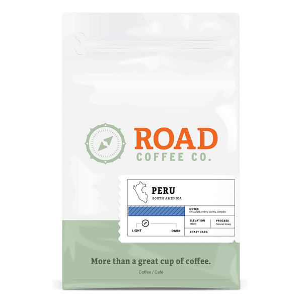 Peru coffee from Road Coffee is a light to medium roast coffee, with tasting notes of chocolate, cherry and vanilla. Available as both whole bean coffee and pre-ground coffee. Order the best coffee beans from the best Canadian coffee roaster and coffee subscription.