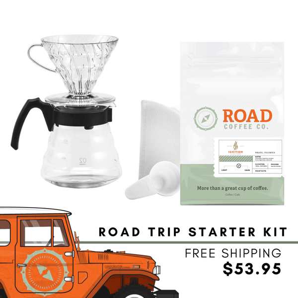 Road Trip Hario V60 Pourover Kit comes with the Hario V60 kit coffee maker, and Road Coffee's signature Ignition Blend coffee beans. Handcrafted from Brazilian coffee and Colombian coffee, this medium roast coffee has tasting notes of chocolate, vanilla, hazelnut and caramel. Available in whole bean coffee and pre-ground coffee from the best Canadian  roasters and coffee subscription.