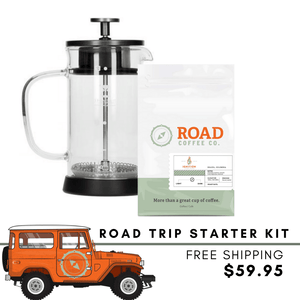 Road Trip French Press Kit comes with the TIMEMORE Small U French Press, and Road Coffee's signature Ignition Blend. Handcrafted from Brazilian coffee and Colombian coffee, this medium roast coffee has tasting notes of chocolate, vanilla, hazelnut and caramel. Available in whole bean coffee and pre-ground coffee from the best coffee subscription in Canada.