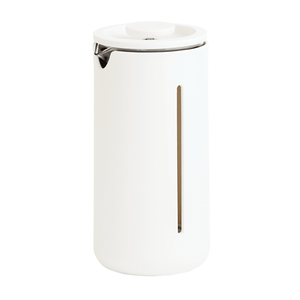 White TIMEMORE Small U French Press available from the best Canadian coffee roaster. Made out of quality heat resistant glass with a fine mesh stainless steel filter and protective plastic sleeve.