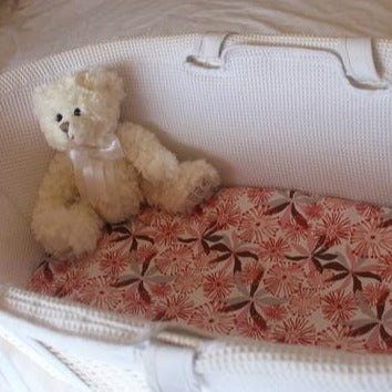 bassinet cot sheet red flowers with teddy