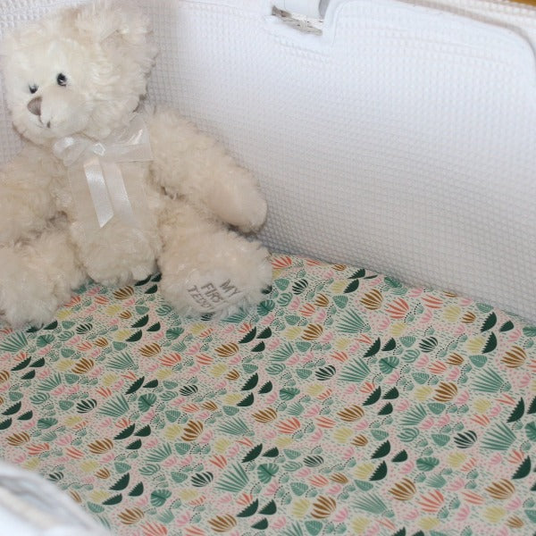 bassinet sheet green and pink jungle grass with teddy