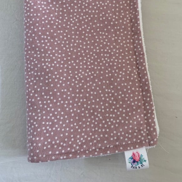 rose blush pink burp cloth with white spots