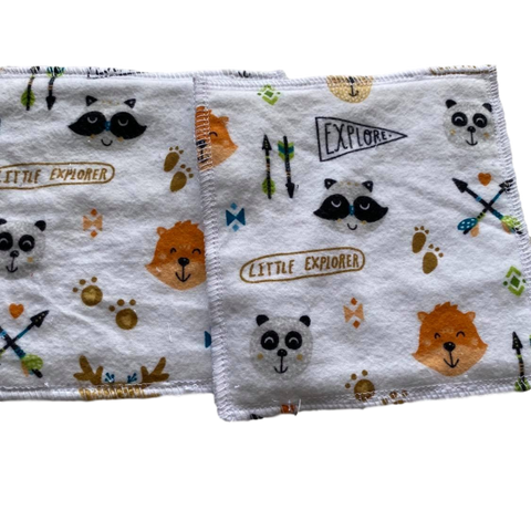 5 pack of soft cloth baby wipes with woodland creatures, little explorer flags