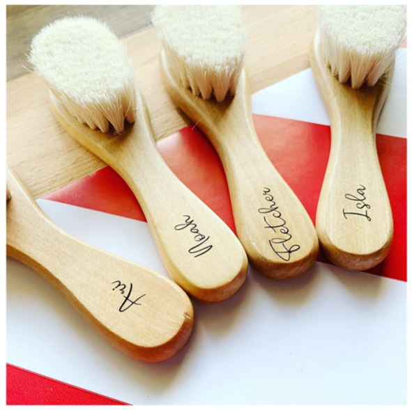 4 wooden baby brushes with soft bristles and personalised with names on handle