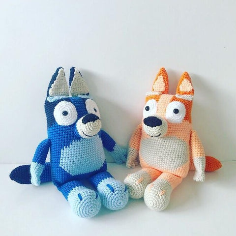 abc kids characters bluey and bingo crochet plush toys