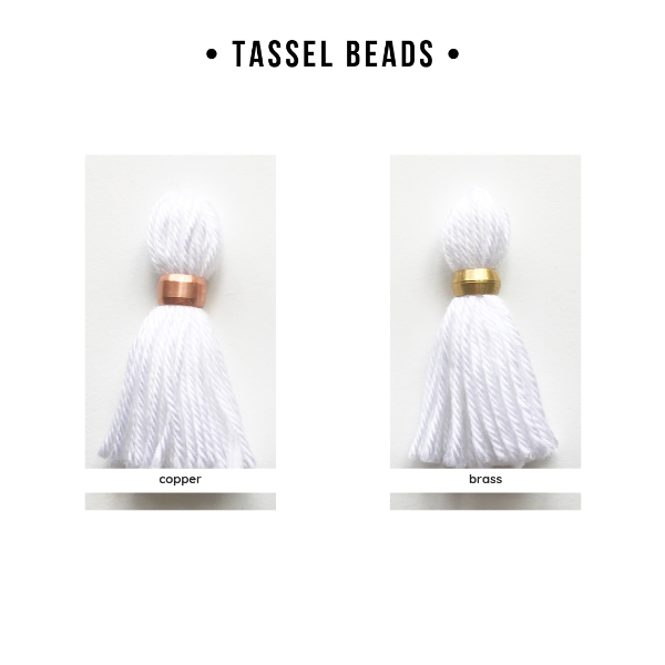 tassle options with copper or brass beads