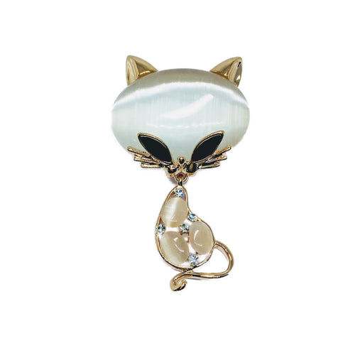 Cat Moonstone Brooch