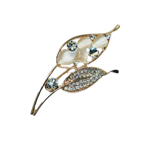 Leaf Moonstone Brooch