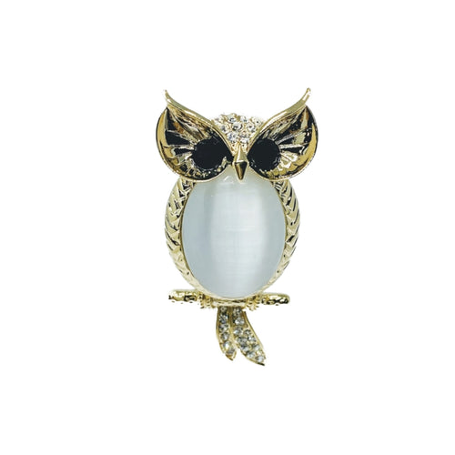 Owl Moonstone Brooch
