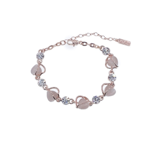 Heart Simulated Moonstone Bracelet