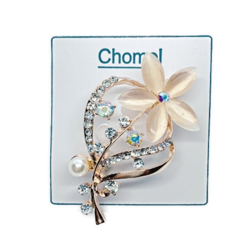 Flower Moonstone Brooch
