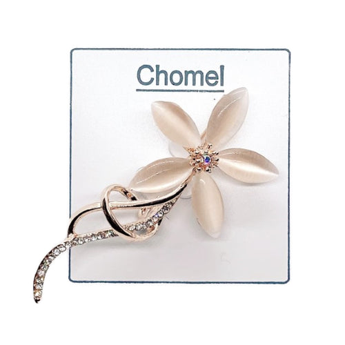 Flower Simulated Moonstone Brooch