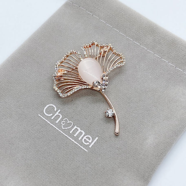 Leaf Simulated Moonstone Brooch
