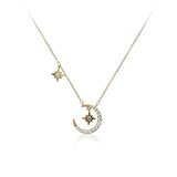 Moon & Star Cubic Zirconia Necklace