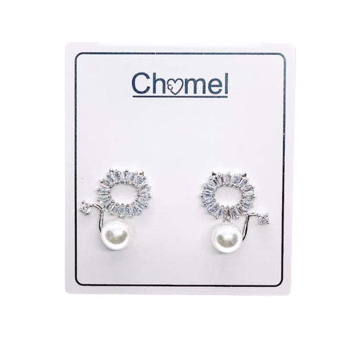 Cat Cubic Zirconia Pearl Earrings