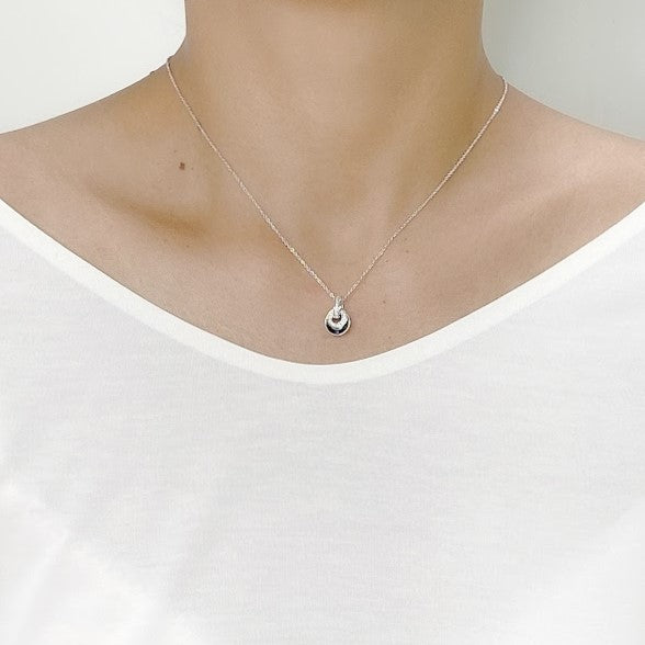 Cubic Zirconia Double Ring Pendant Necklace