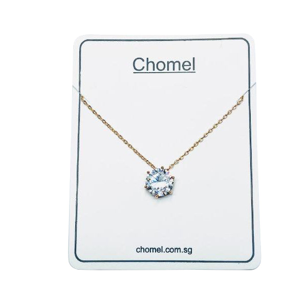 Round Solitaire Cubic Zirconia Necklace - CHOMEL