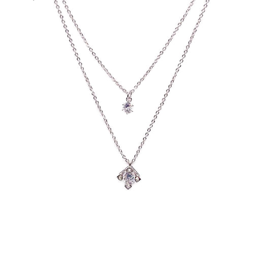Cubic Zirconia Layered Necklace - CHOMEL