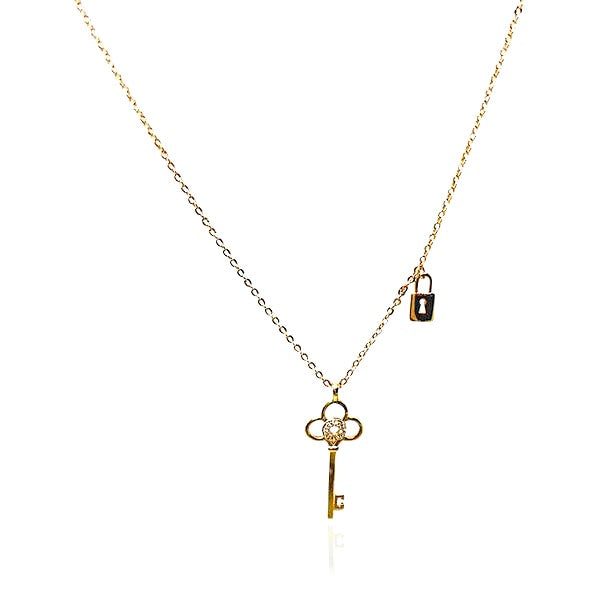 Lock & Key Cubic Zirconia Necklace